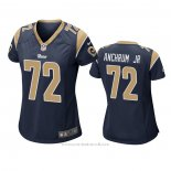 Camiseta NFL Game Mujer Los Angeles Rams 72 Tremayne Anchrum Jr. Azul