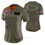 Camiseta NFL Limited Mujer New England Patriots Brandon Bolden 2019 Salute To Service Verde