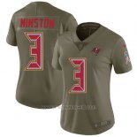 Camiseta NFL Limited Mujer Tampa Bay Buccaneers 3 Jameis Winston Verde Stitched 2017 Salute To Service