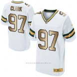 Camiseta Green Bay Packers Clark Blanco Nike Gold Elite NFL Hombre