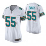 Camiseta NFL Game Mujer Miami Dolphins Jerome Baker Throwback Blanco