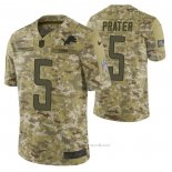 Camiseta NFL Limited Detroit Lions 5 Matt Prater 2018 Salute To Service Camuflaje