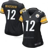 Camiseta Pittsburgh Steelers Bradshaw Negro Nike Game NFL Mujer
