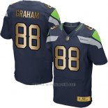 Camiseta Seattle Seahawks Graham Profundo Azul Nike Gold Elite NFL Hombre