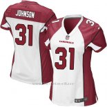 Camiseta Arizona Cardinals Johnson Blanco Rojo Nike Game NFL Mujer