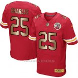 Camiseta Kansas City Chiefs Charles Rojo Nike Gold Elite NFL Hombre