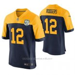 Camiseta NFL Elite Hombre Green Bay Packers Aaron Rodgers 100th Anniversary Azul