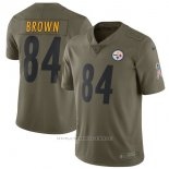 Camiseta NFL Limited Hombre Pittsburgh Steelers 84 Brown 2017 Salute To Service Verde
