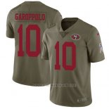 Camiseta NFL Limited Hombre San Francisco 49ers 10 Jimmy Garoppolo Rojo Stitched 2017 Salute To Service