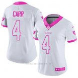 Camiseta NFL Limited Mujer Oakland Raiders 4 Derek Carr Blanco Rosa Stitched Rush Fashion