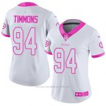 Camiseta NFL Limited Mujer Pittsburgh Steelers 94 Lawrence Timmons Blanco Rosa Stitched Rush Fashion