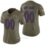 Camiseta NFL Limited Mujer Baltimore Ravens Personalizada 2017 Salute To Service Verde