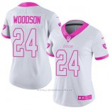 Camiseta NFL Limited Mujer Oakland Raiders 24 Charles Woodson Blanco Rosa Stitched Rush Fashion
