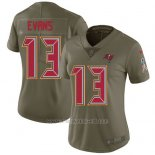 Camiseta NFL Limited Mujer Tampa Bay Buccaneers 13 Mike Evans Verde Stitched 2017 Salute To Service
