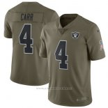 Camiseta NFL Limited Nino Oakland Raiders 4 Carr 2017 Salute To Service Verde