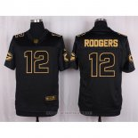 Camiseta Green Bay Packers Rodgers Negro Nike Elite Pro Line Gold NFL Hombre3