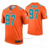 Camiseta NFL Legend Hombre Miami Dolphins 97 Christian Wilkins Inverted Naranja