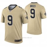 Camiseta NFL Legend Hombre New Orleans Saints 9 Drew Brees Inverted Oro