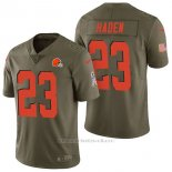Camiseta NFL Limited Hombre Cleveland Browns 23 Joe Haden 2017 Salute To Service Verde
