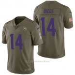 Camiseta NFL Limited Hombre Minnesota Vikings 14 Stefon Diggs 2017 Salute To Service Verde