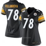 Camiseta NFL Limited Mujer Pittsburgh Steelers 78 Villanueva Negro Blanco