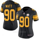 Camiseta NFL Limited Mujer Pittsburgh Steelers 90 Watt Negro