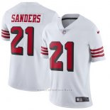 Camiseta NFL Limited Mujer San Francisco 49ers 21 Deion Sanders Blanco Rush Stitched Vapor Untouchable