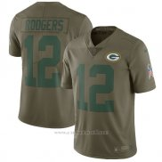 Camiseta NFL Limited Nino Green Bay Packers 12 Rodgers 2017 Salute To Service Verde