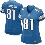 Camiseta Detroit Lions Johnson Azul Nike Game NFL Mujer