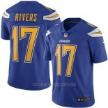 Camiseta NFL Limited Hombre Los Angeles Chargers 17 Philip Rivers Electric Azul Stitched Rush