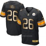 Camiseta Pittsburgh Steelers Bell Negro Nike Gold Elite NFL Hombre