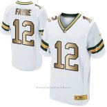 Camiseta Green Bay Packers Favre Blanco Nike Gold Elite NFL Hombre