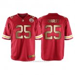 Camiseta Kansas City Chiefs Charles Rojo Nike Gold Game NFL Hombre