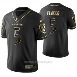 Camiseta NFL Limited Hombre Baltimore Ravens Joe Flacco Golden Edition Negro