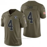 Camiseta NFL Limited Hombre Oakland Raiders 4 Derek Carr 2017 Salute To Service Verde