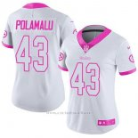 Camiseta NFL Limited Mujer Pittsburgh Steelers 43 Troy Polamalu Blanco Rosa Stitched Rush Fashion