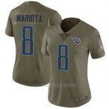 Camiseta NFL Limited Mujer Tennessee Titans 8 Marcus Mariota Verde Stitched 2017 Salute To Service
