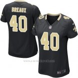 Camiseta New Orleans Saints Breaux Negro Nike Game NFL Mujer