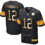 Camiseta Pittsburgh Steelers Bradshaw Negro Nike Gold Elite NFL Hombre