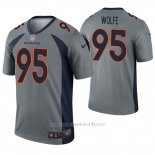 Camiseta NFL Legend Hombre Denver Broncos 95 Derek Wolfe Inverted Gris