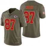 Camiseta NFL Limited Hombre Kansas City Chiefs 87 Travis Kelce 2017 Salute To Service Verde