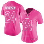 Camiseta NFL Limited Mujer Oakland Raiders 24 Charles Woodson Rosa Stitched Rush Fashion