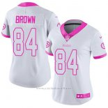 Camiseta NFL Limited Mujer Pittsburgh Steelers 84 Antonio Brown Blanco Rosa Stitched Rush Fashion