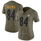 Camiseta NFL Limited Mujer Pittsburgh Steelers 84 Erown 2017 Salute To Service Verde