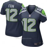 Camiseta NFL Limited Mujer Seattle Seahawks 12 Fan Azul Replica Game