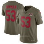 Camiseta NFL Limited Nino San Francisco 49ers San Francisco 49ers 53 Bowman 2017 Salute To Service Verde