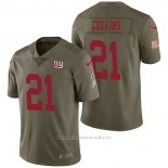 Camiseta NFL Limited Hombre New York Giants 21 Landon Collins 2017 Salute To Service Verde