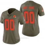 Camiseta NFL Limited Mujer Cleveland Browns Personalizada 2017 Salute To Service Verde