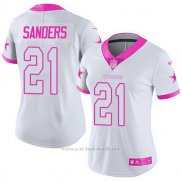 Camiseta NFL Limited Mujer Dallas Cowboys 21 Deion Sanders Blanco Rosa Stitched Rush Fashion