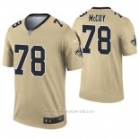 Camiseta NFL Legend Hombre New Orleans Saints 78 Erik Mccoy Inverted Oro